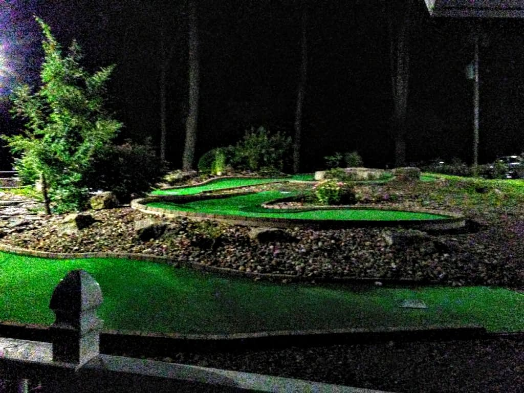 mini golf at night