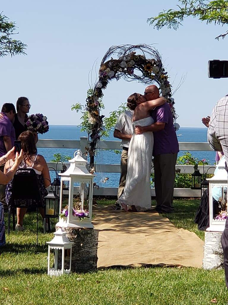 wedding overlooking lake